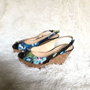 Marc Fisher Cork Wedge Blue Floral Platform Sandal